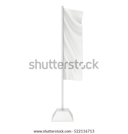 Flag Blank Expo Banner Stand. Trade show booth. 3d render illustration isolated on white background. Template mockup for your expo design. #522116713