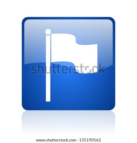 flag blue square web glossy icon - stock photo