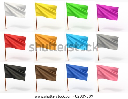 Flag collection on white isolated background. 3d