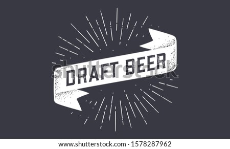 Flag Draft Beer. Old school ribbon flag banner with text Draft Beer. Ribbon flag in vintage style with linear drawing light rays, sunburst and rays of sun, text draft beer. Illustration