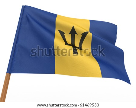 flag fluttering in the wind. Barbados. 3d
