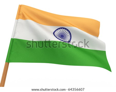 flag fluttering in the wind. India. 3d