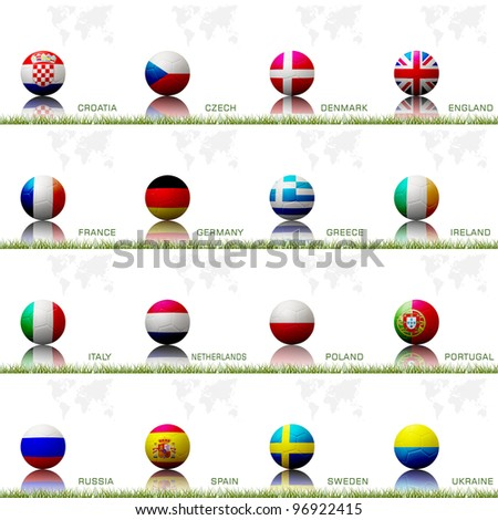 Flag football  of european competition on the soccer ball on white background.