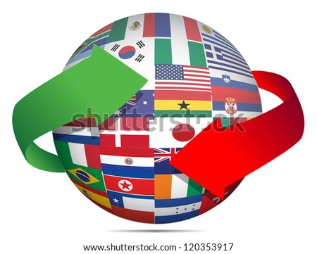 flag globe and arrows illustration design over white - stock photo