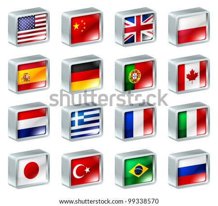 Flag icons or buttons, can be used as language selection icons for translating web pages or region selection or similar.