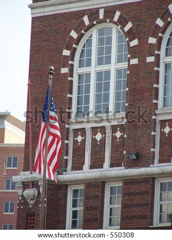 flag in front of building