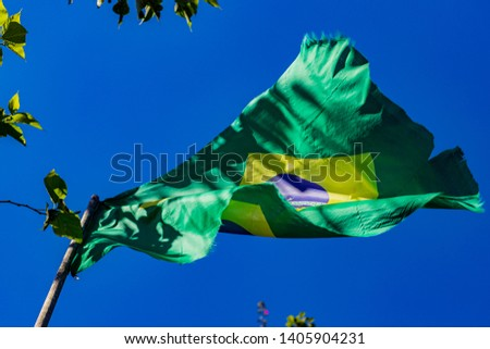 Flag in the wind. Green, yellow and blue flag. Brazilian flag.