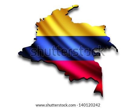 Flag map of Colombia in perspective. Waving Colombian flag clipped in country shape.