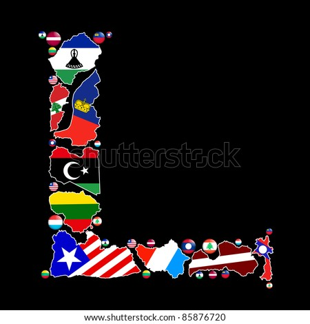 Flag maps and flag badges of all the countries in the world starting with the letter L make up the letter L.