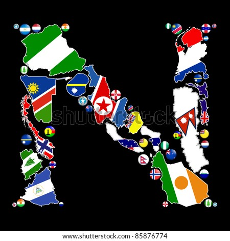 Flag maps and flag badges of all the countries in the world starting with the letter N make up the letter N.