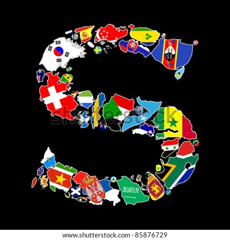 Flag maps and flag badges of all the countries in the world starting with the letter S make up the letter S.