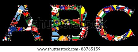 Flag maps and flag badges of some of the countries in the world make up the A, B and C letters of the alphabet. - stock photo
