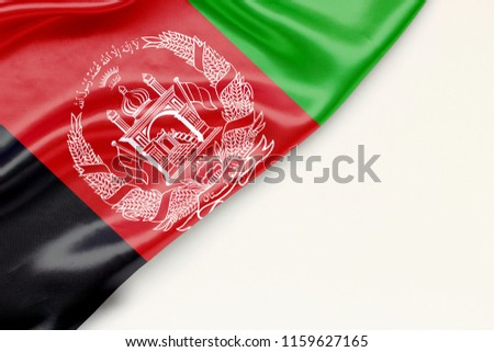 Flag of Afghanistan - there is a white background and a place for the text #1159627165