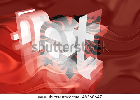 Flag of Albania, national country symbol illustration wavy net domain website - stock photo