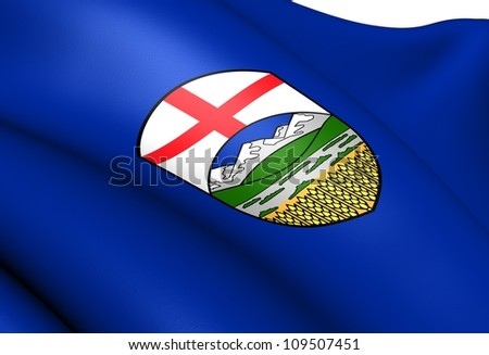 Flag of Alberta, Canada. Close Up. - stock photo