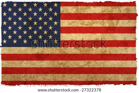 flag of america - old and worn paper style
