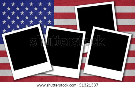 Flag of America with instant photos