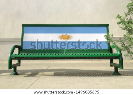 Flag of Argentina on bench. Argentina Flag on bench advertisement #1496085695