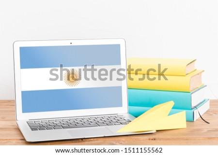 Flag of Argentina on Laptop. Argentina Flag on Screen. #1511155562