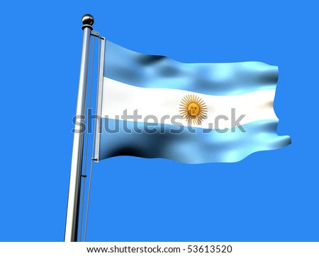 flag of argentine against blue sky - rendering