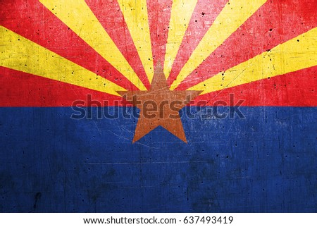 Flag of Arizona, USA, with an old metal texture