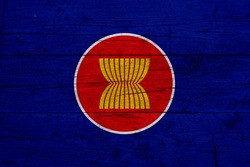 Flag of Association of Southeast Asian Nations. Wooden texture of the flag of Association of Southeast Asian Nations.