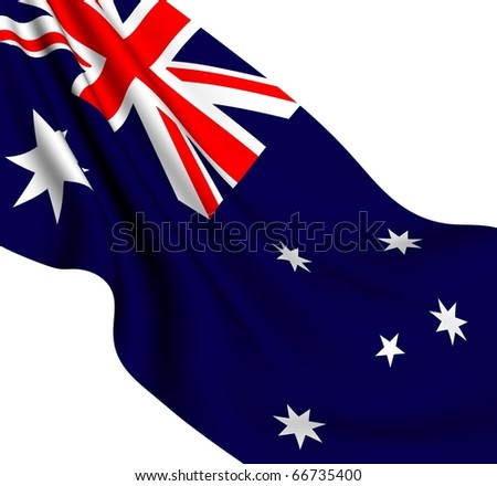 Flag of Australia against white background. Close-up.
