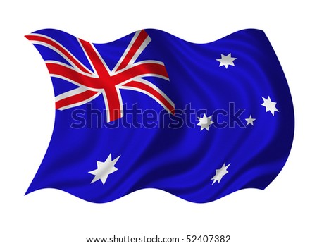 Flag of Australia isolated on white background