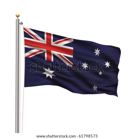 Flag of Australia with flag pole waving in the wind over white background