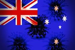 Flag of Australia with the virus cells, concept of new Delta Variant of Coronavirus in Australia.