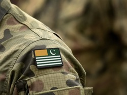 Flag of Azad Kashmir on military uniform. Army, troops, soldier (collage).