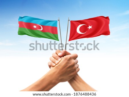 Flag of Azerbaijan and Turkey, allies and friendly countries, unity, togetherness, handshake