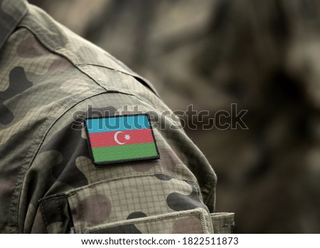 Photo of  Flag of Azerbaijan on military uniform. Azerbaijani army, armed forces, soldiers. Collage.