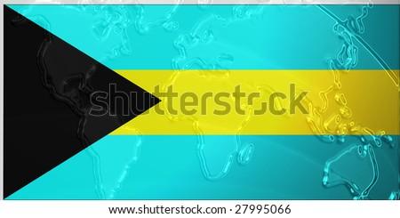 Flag of bahamas national country symbol illustration with world map