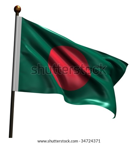 Flag of Bangladesh. High resolution 3d render isolated on white with fabric texture.