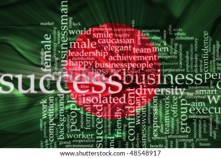 Flag of Bangladesh, national country symbol illustration wavy business success concept