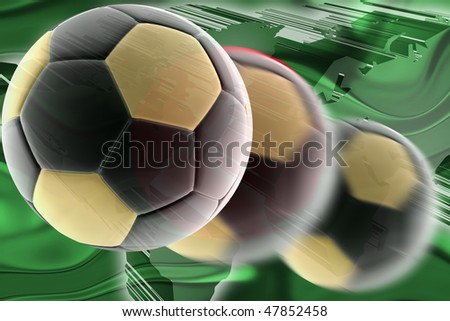 Flag of Bangladesh, national country symbol illustration wavy sports soccer football