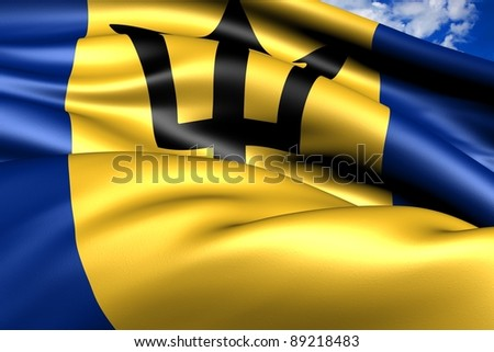 Flag of Barbados. Close up.