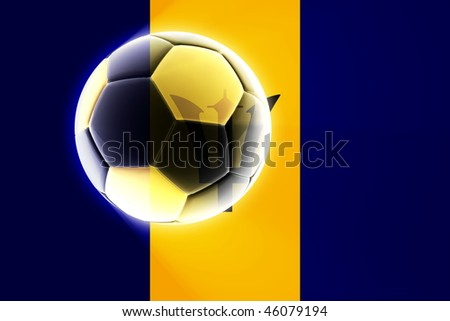 Flag of Barbados, national symbol illustration clipart sports soccer football