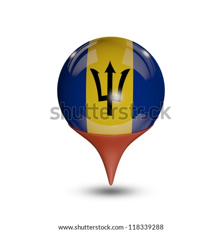 Flag of Barbados pin isolated on white.