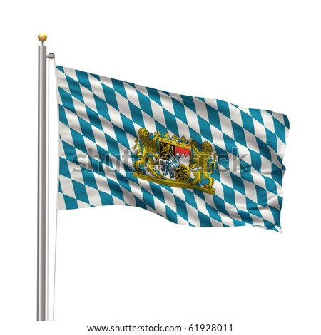 Flag of Bavaria with flag pole waving in the wind over white background