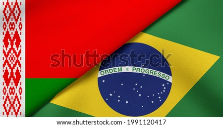Flag of Belarus and Brazil - 3D illustration. Two Flag Together - Fabric Texture Foto stock ©