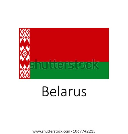 Flag of Belarus with name illustration. Official colors and proportion correctly flag of country Belarus. Premium quality graphic design of national Belarus flag on white background