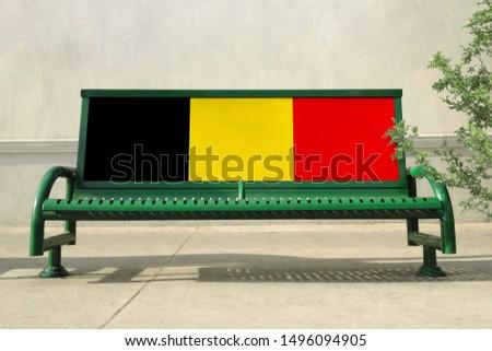 Flag of Belgium on bench. Belgium Flag on bench advertisement #1496094905