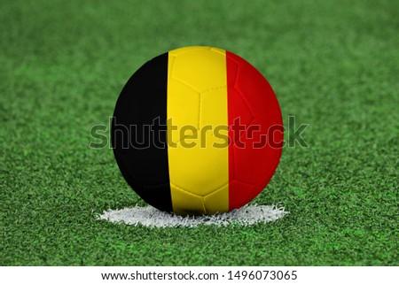 Flag of Belgium on Football Belgium Flag on soccer ball #1496073065