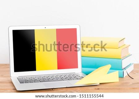 Flag of Belgium on Laptop. Belgium Flag on Screen. #1511155544