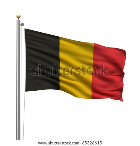 Flag of Belgium with flag pole waving in the wind over white background - stock photo