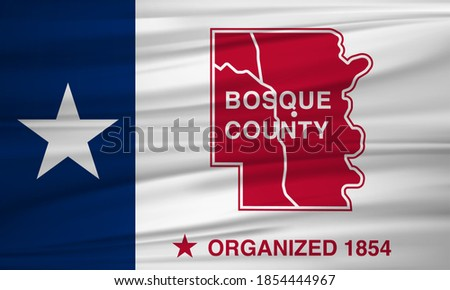 Flag of Bosque County, Texas, USA. 3D rendering flag of Bosque County background. Foto stock ©