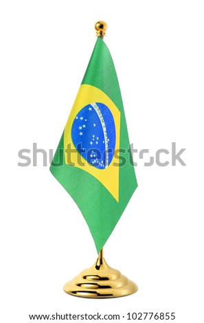 Flag of Brazil hanging on the gold flagpole,Isolated on the white background