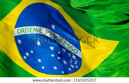 Flag of Brazil in the wind